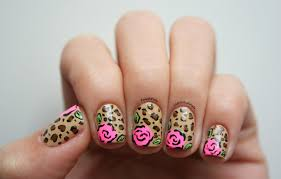 polish pals leopard rose nails tutorial