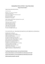 student task sheet song as poetry rhyme scheme dizzee rascal