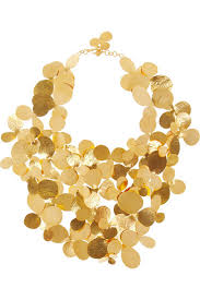 bib necklace gold images Herv van der straeten hammered gold plated bib necklace net a jpg