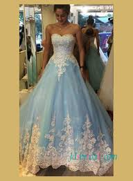 blue wedding dress h1479 fairy blue and white lace gown wedding dress