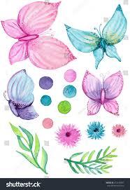 set watercolor butterflies flowers leaves stock illustration