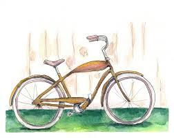 yellow vintage bike painting illustrations pinterest vintage