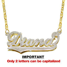 3d nameplate necklace 14k two tone gold personalized plate 3d name