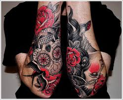 skull and roses tattoo on sleeve design of tattoosdesign of tattoos