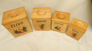 vintage wood 4pc canister set kitchen ware rooster rustic country