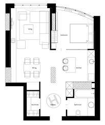 space saving floor plans 2 one bedroom home apartment designs under 60 square meters with