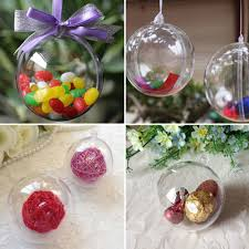 10cm plastic clear decorations hanging bauble