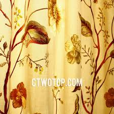 Yellow Faux Silk Curtains Luxury Leaf Faux Silk Cheap Sound Absorbing Modern Curtains