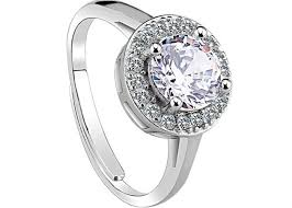 crystal pave rings images Round crystal 925 solid sterling silver ring with clear cz pave jpg