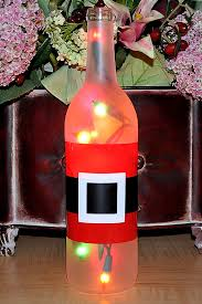 wine bottle christmas ideas santa claus is lit up and ready to party hostess gift