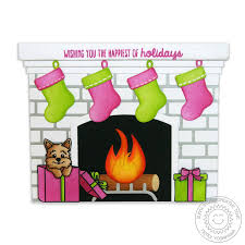 sunny studio fireplace shaped card die set sunny studio stamps