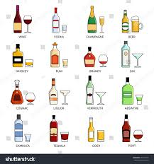 martini liquor vector alcohol list icons collection bar stock vector 404197396