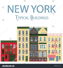 new york city typical buildings houses stock vector 477286177