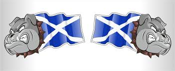 Scottish County Flags Handed Pair Of Scotland Scottish Saltire Flag Bulldog Mascot Vinyl