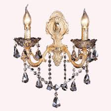 Crystal Candle Sconces Fabric Shade Crystal 2 Light Contemporary Wall Candle Sconces