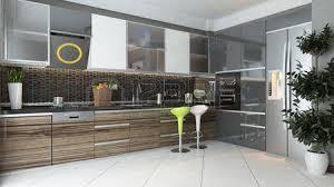 Kitchen 3d Design Black Ceramic And Wooden Furniture Light Modern Kitchen