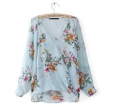 floral chiffon blouse cross neck floral printed sleeve blouse t1346 chiffon blouse
