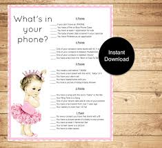 baby shower game whats in your phone baby princess theme