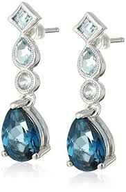 topaz earrings sterling silver london blue topaz and light blue topaz