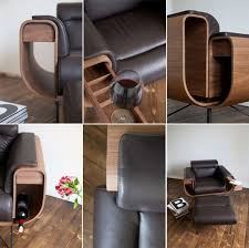 Armchair With Storage El Purista Leather Smoking Arm Chair With Slide Out Storage Pockets