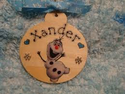 frozen olaf snowman personalised wooden christmas tree hanger