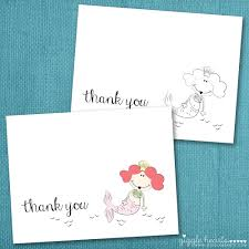 free thank you cards free printable mermaid thank you cards for summer