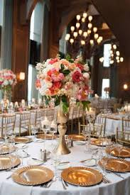 elegant coral and gold wedding reception inspirations flowers