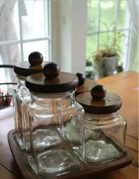 Kitchen Canister Sets Stainless Steel Kitchen Accessories Wooden Lids Glass Decorative Kitchen
