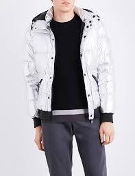 armani jeans metallic shell down jacket in metallic for men lyst
