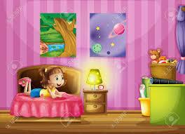 dans sa chambre illustration d une fille dans sa chambre colorée clip