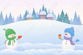 a christmas snow vector drawing of a christmas snow with two snowmen