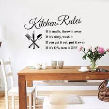 stickers cuisine texte mode creative anglais texte cuisine règles stickers muraux