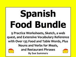 spanish food and meals bundle of 9 worksheets web quest sketch