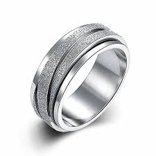 gear wedding ring jajafook 8mm unisex stainless steel finger spinner gear silver