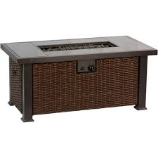 Patio Table Accessories Bali Outdoors 52 In Rectangular Gas Pit Table Brown Patio