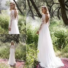 vintage boho wedding dresses long sleeves lace 2017 ivory ruffles