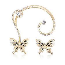 clip on stud earrings 18k gold plated rhinestone butterfly ear clip stud earrings
