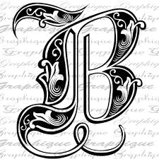 monogram letter b letter initial b monogram engraving style type text paper