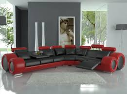 Black Living Room Furniture Sets Cardinal Leather Red Black Fabric Intended For Red And Black