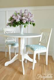 Small Circular Dining Table And Chairs Round Pedestal Dining Table With Stenciled Doily Top The