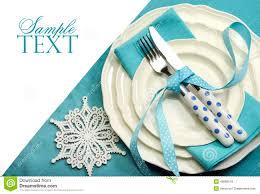 beautiful aqua blue festive christmas dining table place setting