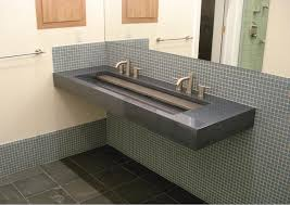 bathroom inspiring vanity cabinet design ideas with cozy trough floating gray trough sink with graff faucets and