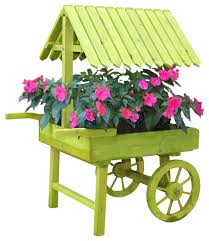 green wooden vendor cart planter outdoor pots and planters by