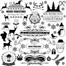 black christmas labels vector free download