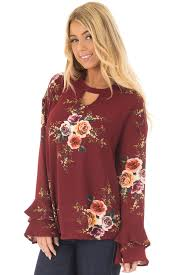 burgundy blouse burgundy floral trumpet sleeve blouse with keyhole cut out lime