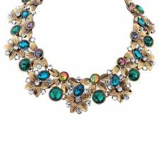 color rhinestone necklace images New fashion vintage jewelry color rhinestone flower chokers jpg
