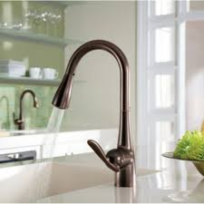 rubbed bronze pull kitchen faucet junoshowers neck rubbed bronze waterfall motion sensor