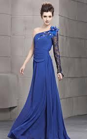 line one shoulder floor length dark royal blue chiffon formal