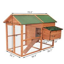 Large Rabbit Hutch With Run 71 U0026 034 Large Wooden Chicken Coop Hen House Backyard Poultry