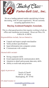 Purchasing Assistant Resume Touch Of Class Seeking Buying Assistant Samples Associate Dubois